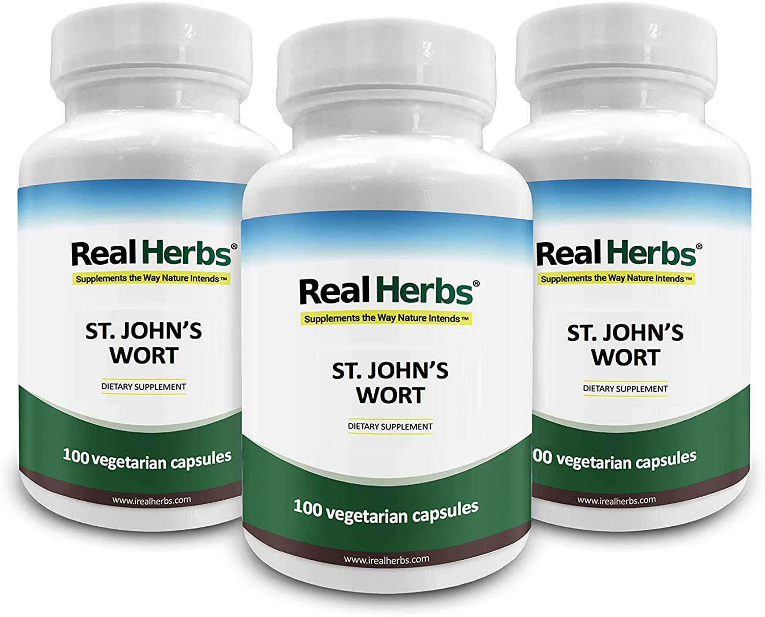 15 Off 3 Bottles of Real Herbs St Johns Wort Standardized to 0.3 Hypericin 500mg – Herb Supplement for Positive Thoughts – Vegan Capsules an alternative to Pills Tablets – 300 Vegetarian Capsules