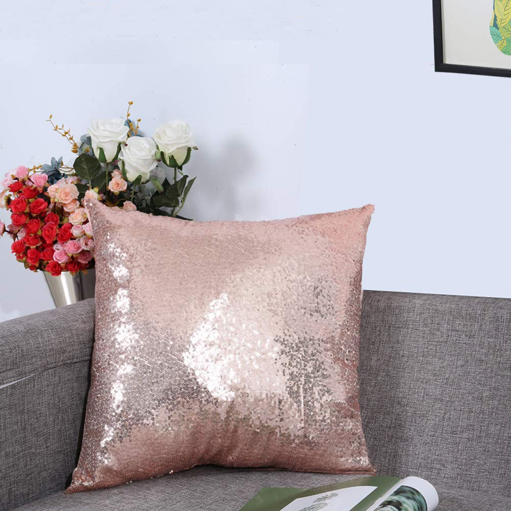 Eternal Beauty Sequin Decorative Pillow Cover Sparkle Rose Gold Throw Pillow Covers for Couch Sofa Throw Pillows 18 X 18 Inches