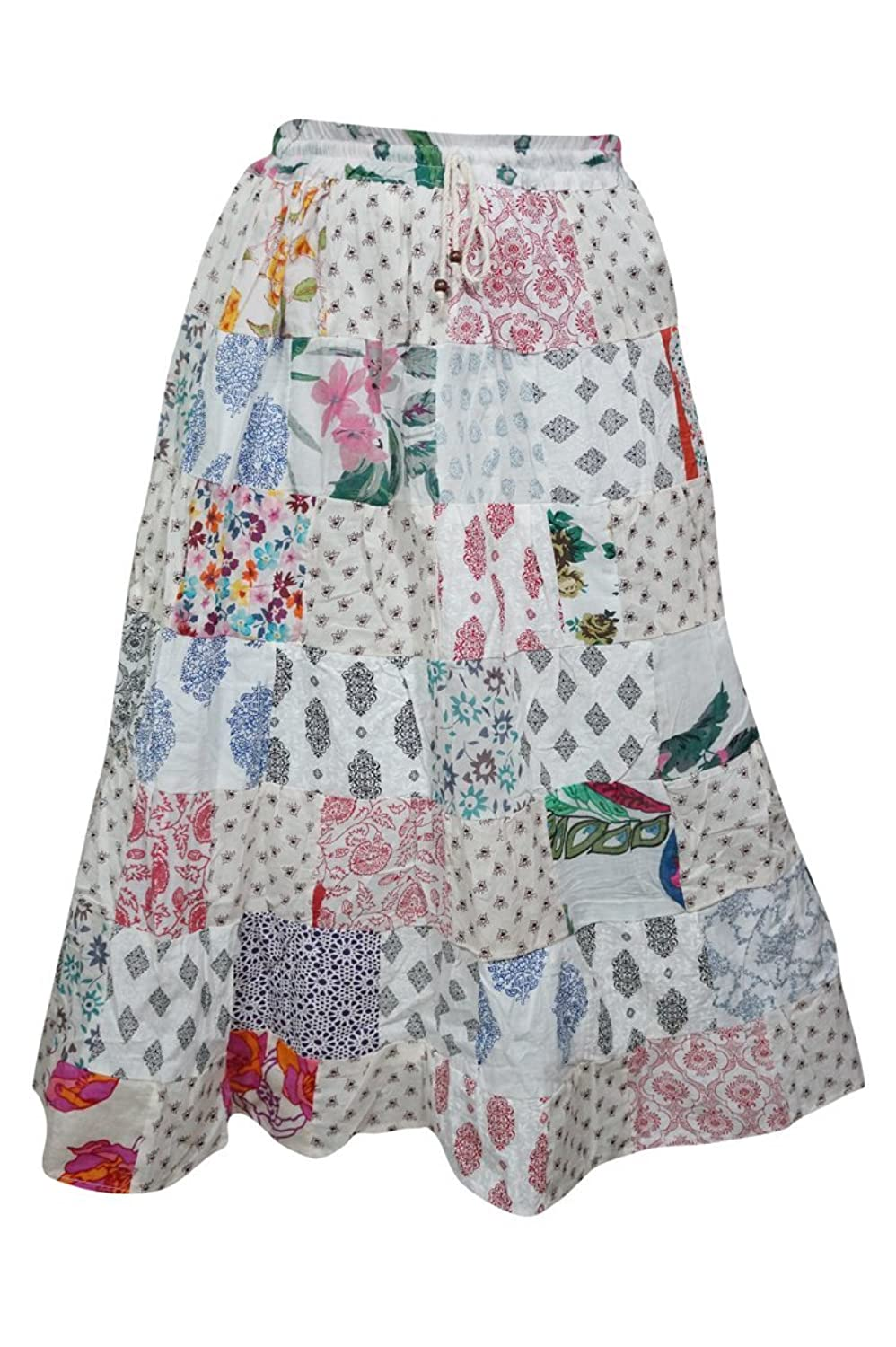 Mogul Interior Women's Long Skirt Patchwork Stylish Floral Printed Rayon Bohemian Gypsy M