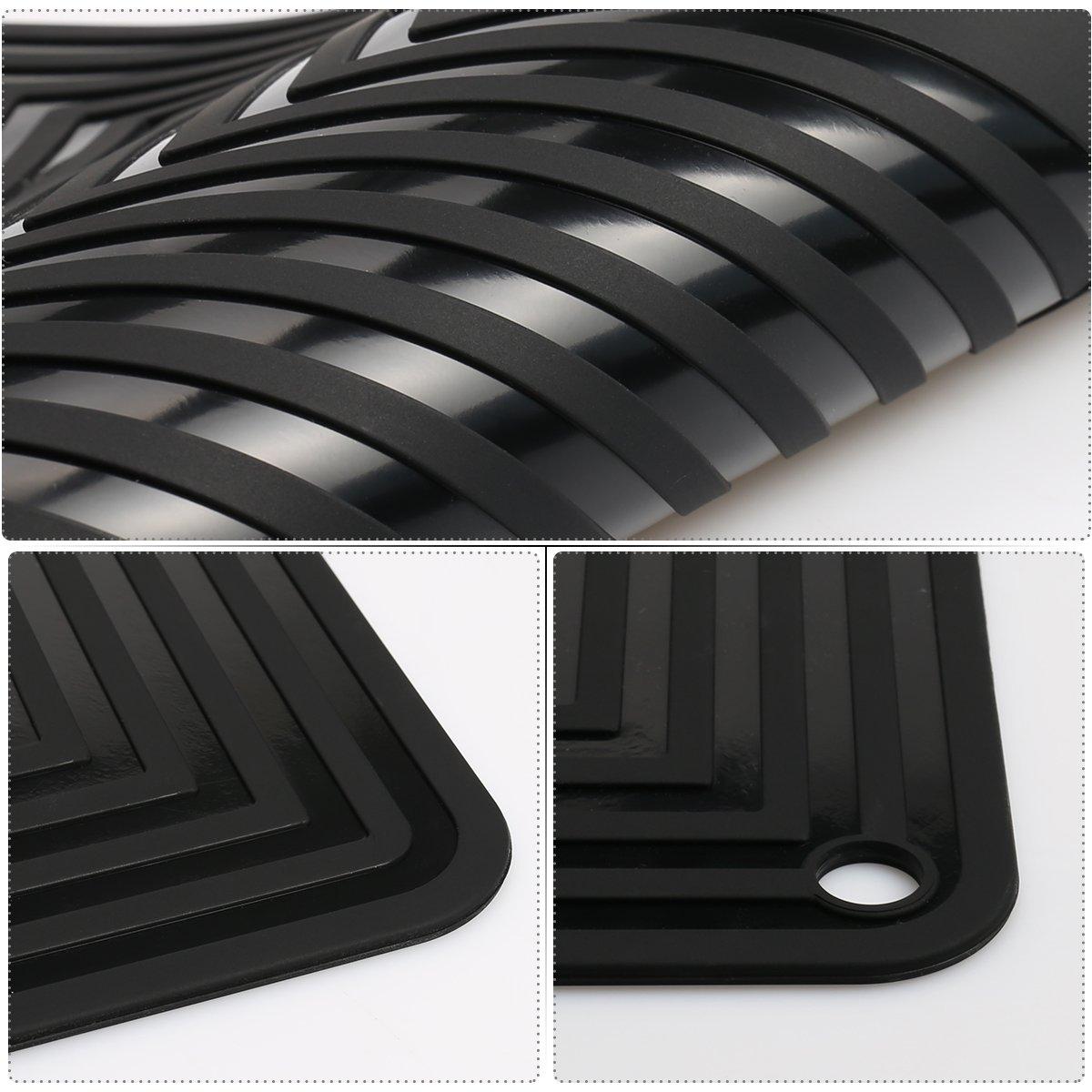2 Pack,Silicone Trivet Mats/Hot Pads,Pot Holder,9''x12'' Non Slip Flexible Durable Heat Resistant Pot Coaster Kitchen Table Mats (Black) by LogHog (Image #6)