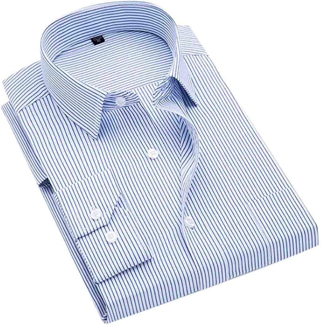 Gnao Mens Striped Non-Iron Formal Long Sleeve Classic Button Down Dress Shirts