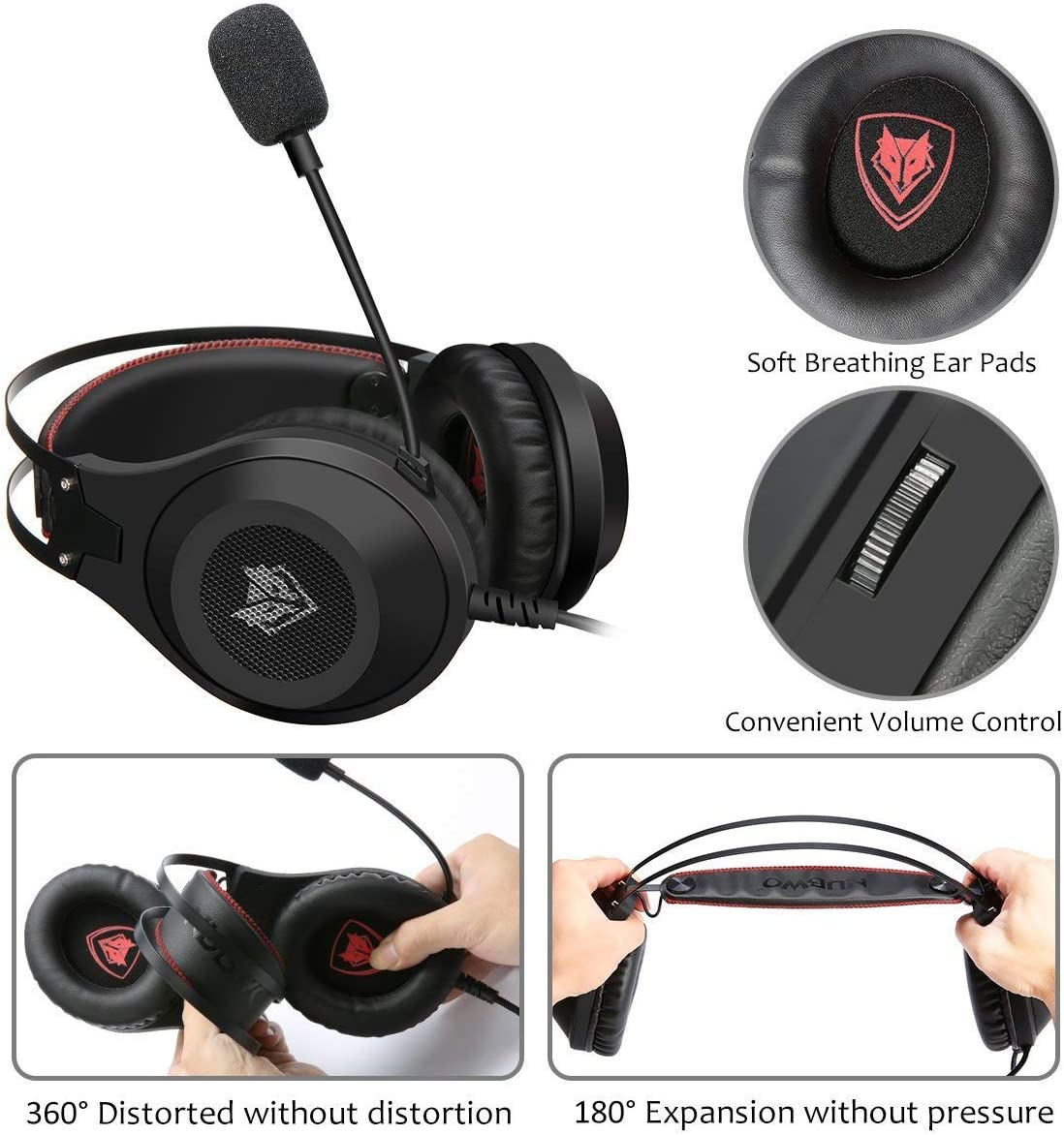 Gaming Headset NUBWO Wired Gaming Headphones with Microphone and Volume Control for PC//Ps4//Xbox one 1 //Phone//Laptop