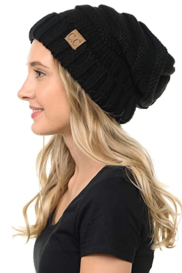 bfb4b9c50a65fe C.C BYSUMMER Stylish Thick Soft Cable Knit Slouchy Warm Winter Beanie Hat
