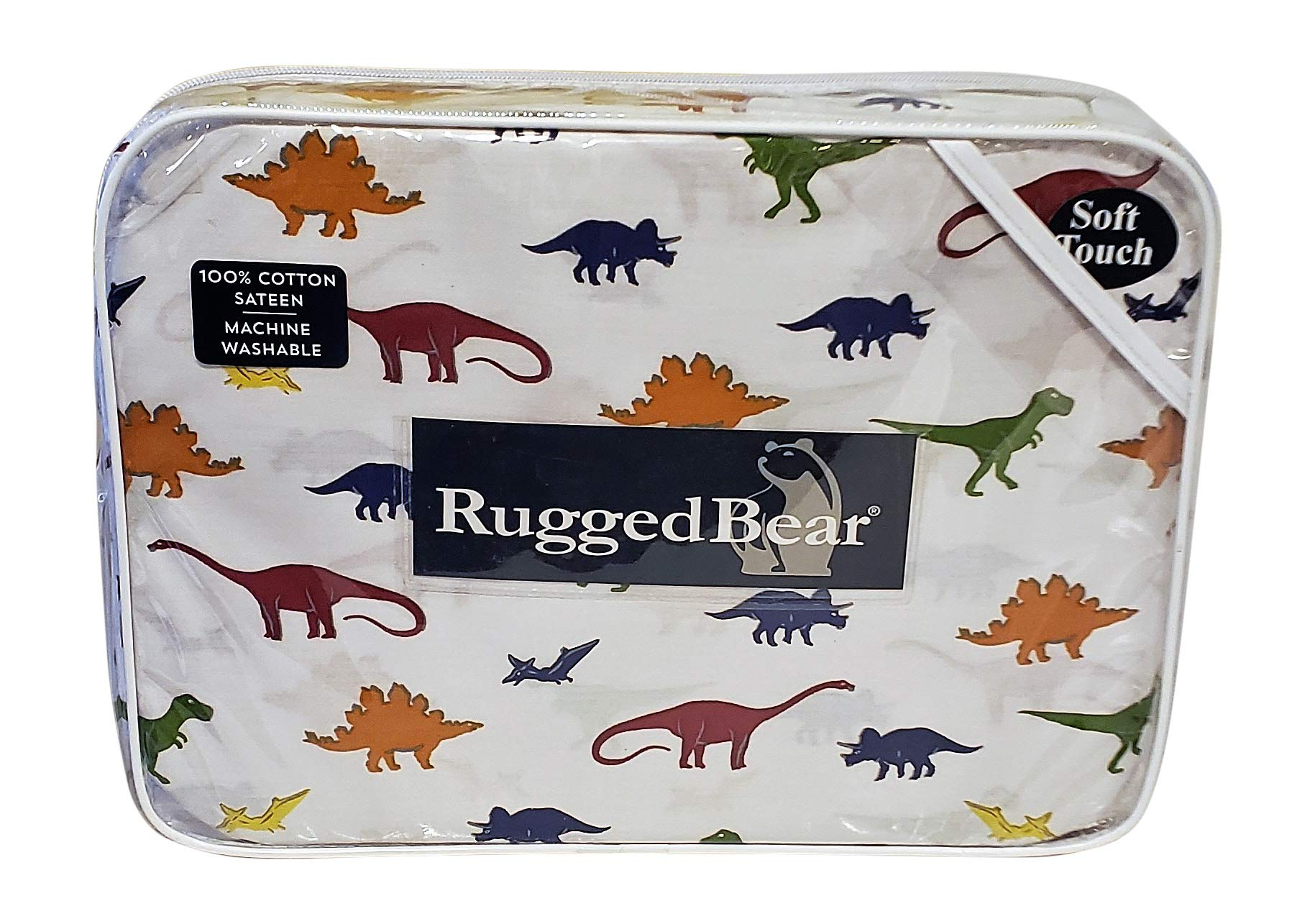 Rugged Bear Bedding 100% Cotton Sateen Sheet Set Multi-Colored Dinosaurs (4 Piece Full Set)