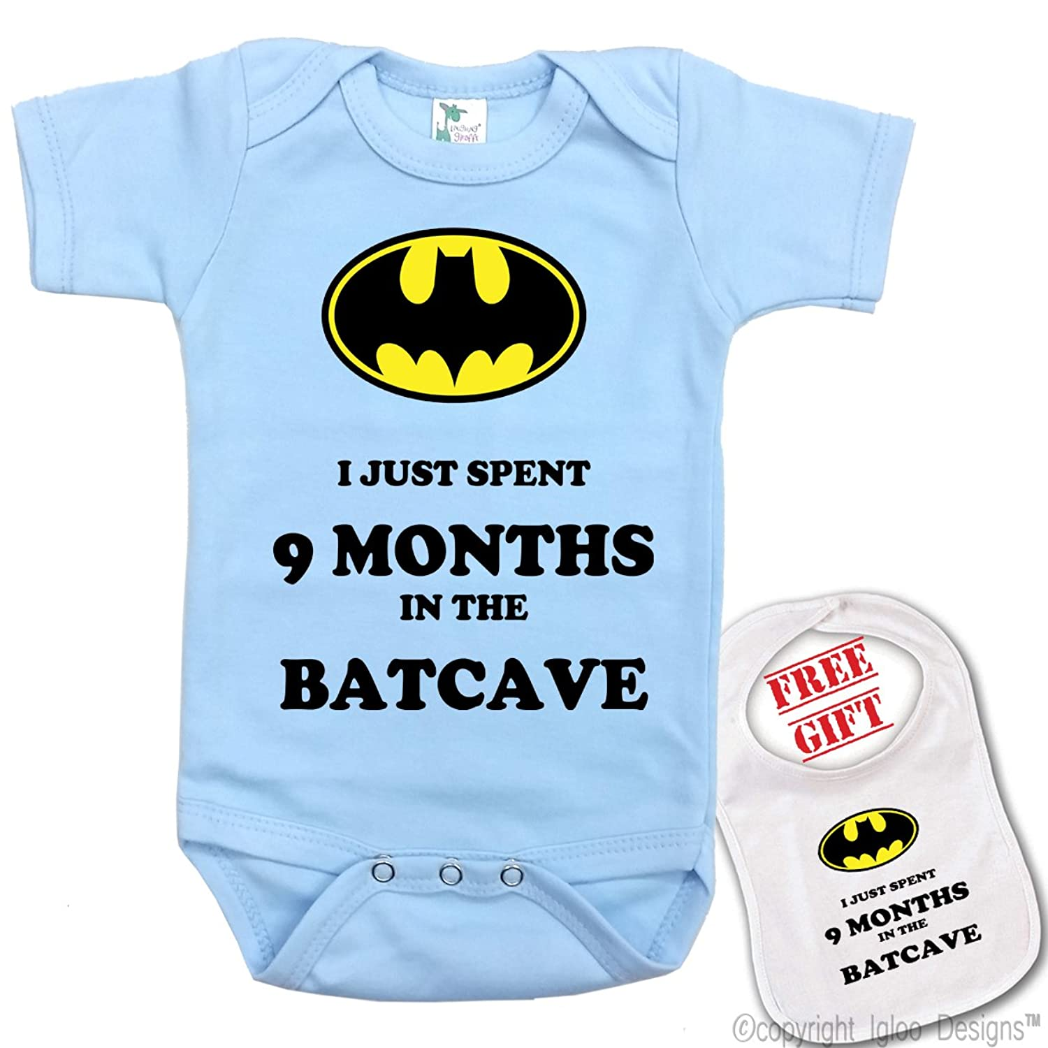 """Amazon """" I Just Spent 9 Months in the BatCave """" Custom Baby"""