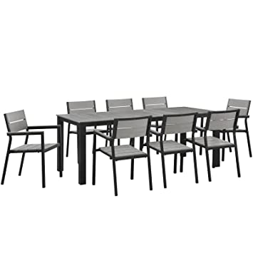 Modway Maine 9 Piece Outdoor Patio Dining Set, Brown/Gray