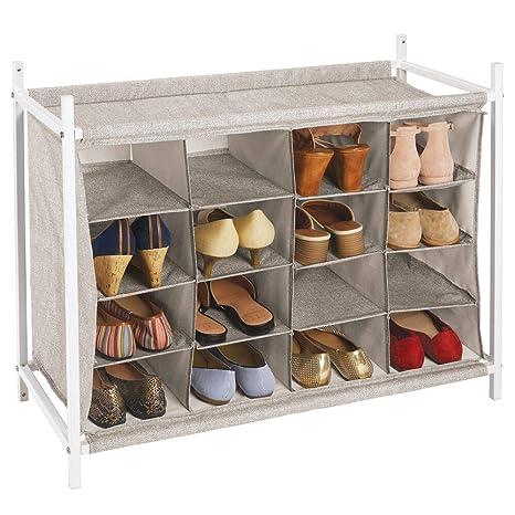 zapatero para recibidor MDesign Estantera Zapatero Con 16 Compartimentos Compacto