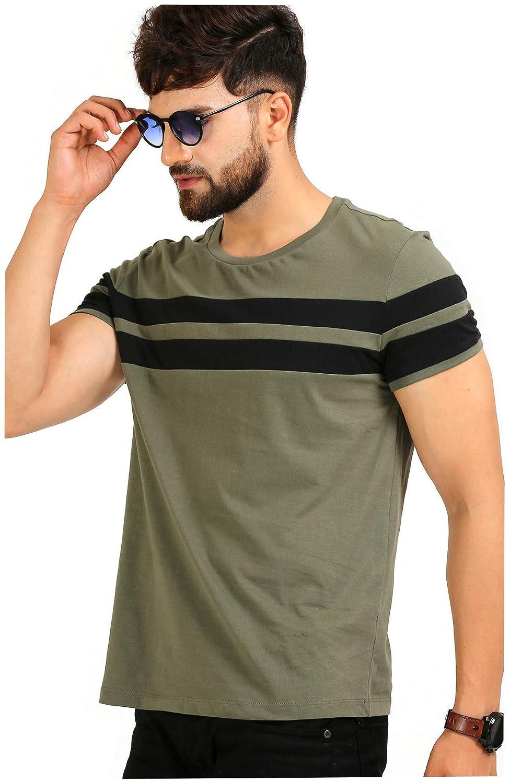 AELOMART Men's Cotton T Shirt-(AMT1020OL-P_Olive)