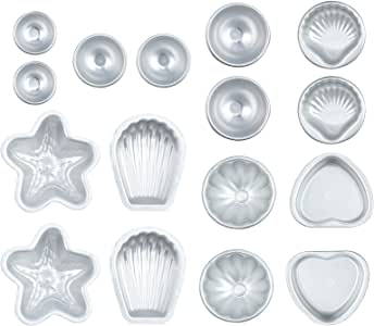 Neoteck 16PCS Muti Shape Metal Aluminum Bath Bomb Molds Moulds DIY Homemade Soap Crafting Gifts