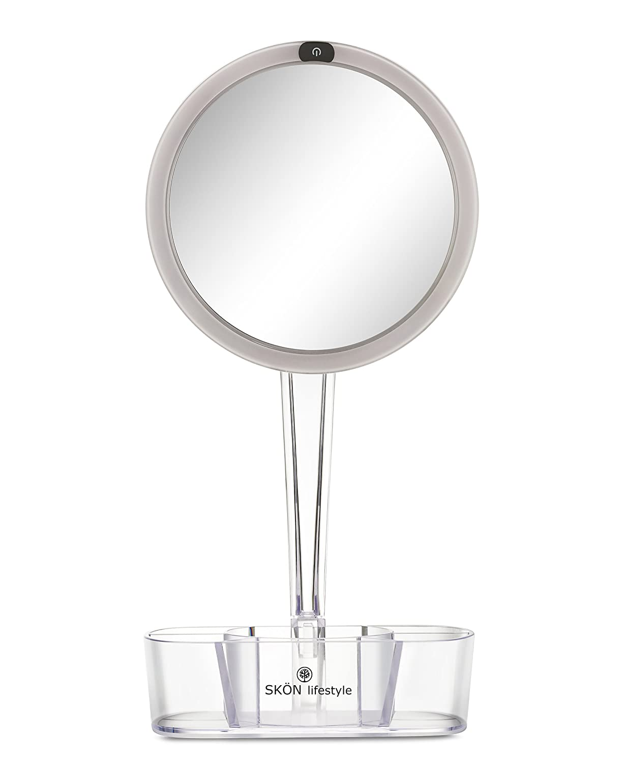 18x13,5 with Stand Transparent Grey Trendy Magnifying Mirror Face Rectangular