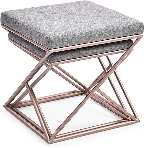 Hodedah 2 Piece Grey Linen Upholstered Ottoman