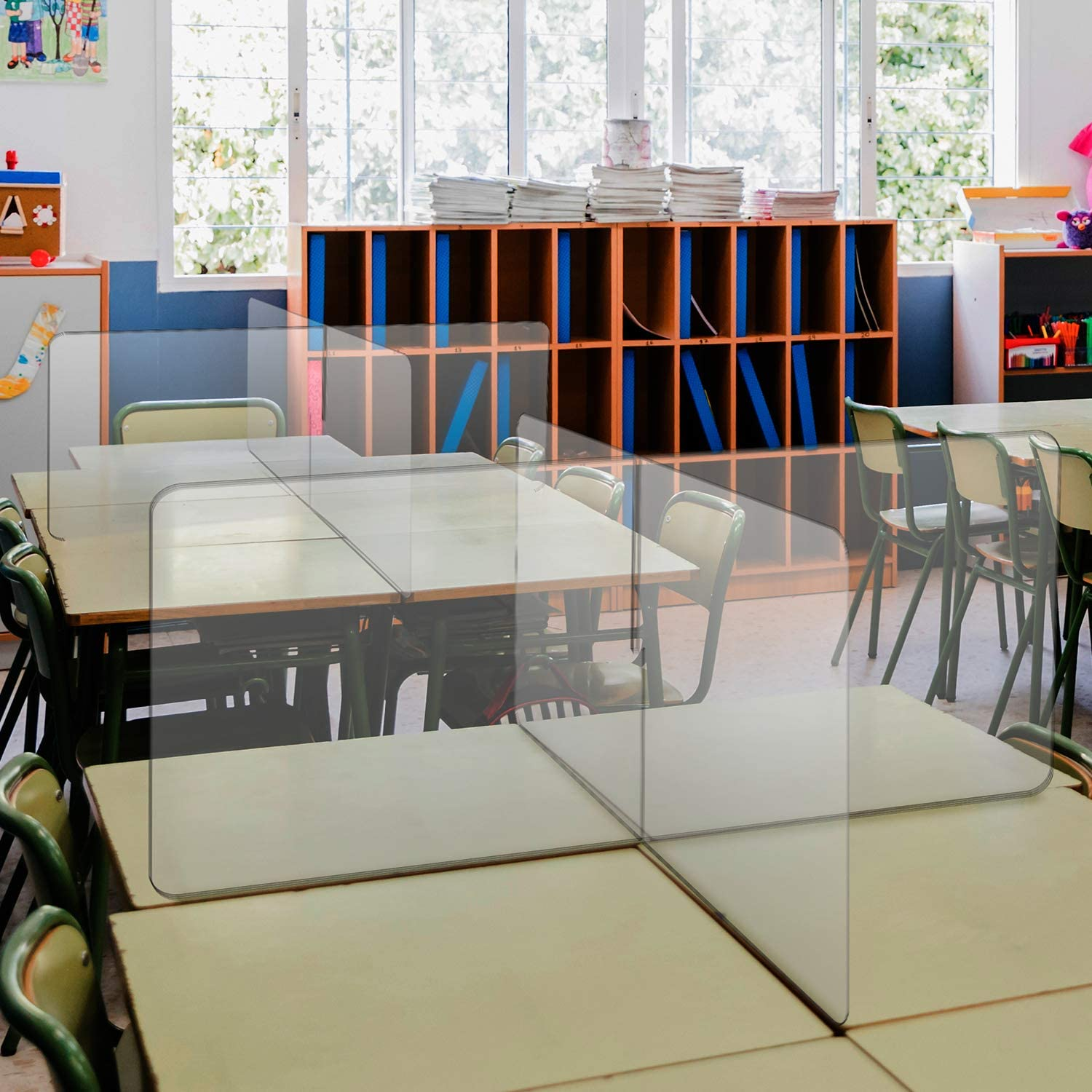 Barrier Against Virus Spread Board School Tabletop Desk Divider Sneeze Guard Protective Plexiglass Shield for Counters 4 x 2 x 4 Clear Acrylic 4 Person Desk Divider