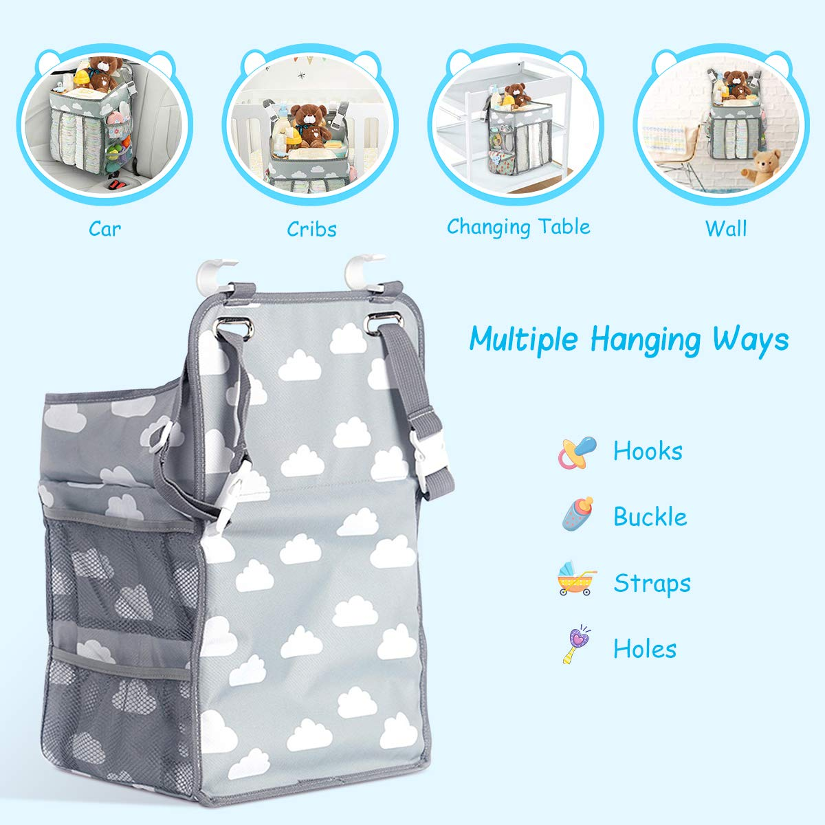 Elebor Nursery Organizer and Baby Diaper Caddy, Hanging Diaper Stacker Storage for Changing Table, Crib, Playyard or Wall - Nursery Organization & Baby Shower Gifts for Newborn (Coud)