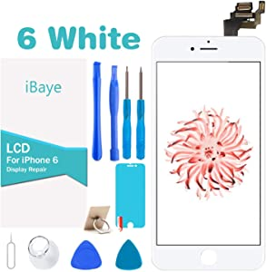 ibaye for iPhone 6 Screen Replacement White (4.7inch) LCD Touch Screen Display Screen Digitizer Full Display Assembly with Front Facing Camera Proximity Sensor+Ear Speaker+Full Repair Tools (White)