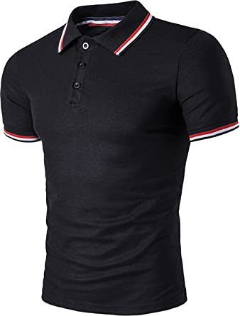 be8c1a2f1 Sportides Mens Polo Shirts Contrast Collar Golf Tennis Sports Short Sleeve  Shirt Tops JZA032: Amazon.co.uk: Clothing