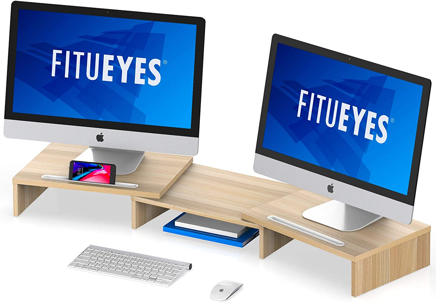 FITUEYES Computer Monitor Riser Desktop Laptop Stand Length Angle Adjustable Speaker PC Stand DT111106WO