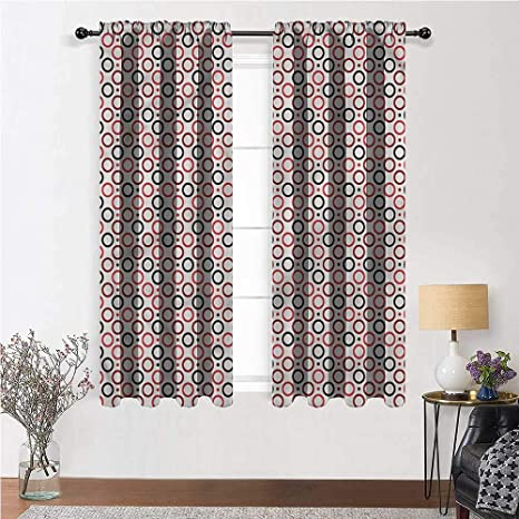 Youxianhome Art Deco Sun Blocking Curtains Geometric Design Circles Rod Pocket Blackout Curtains 36 Inch X 63 Inch 2 Curtain Panels Home Kitchen