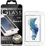 iPhone6s/iPhone6 (4.7インチ) 3D ガラスフィルム全面 保護 ソフトフレーム 飛散防止 9H 液晶ガラス 高透明 iPhone6s 6 対応 (ホワイト) 3D-I6-WHT217
