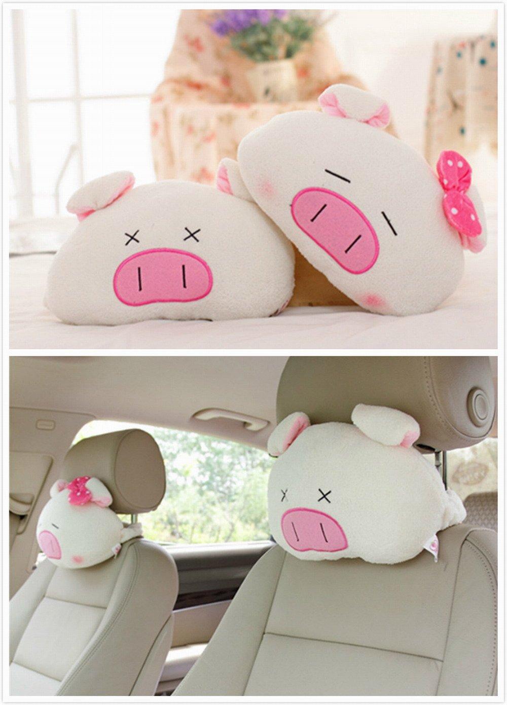 2pcs Cartoon Cute Styling Auto Car Plush Headrest Protect Neck Pillow Cartoon Travel Rest Pillow Cushion Pad by AMZ (Cartoon 01)