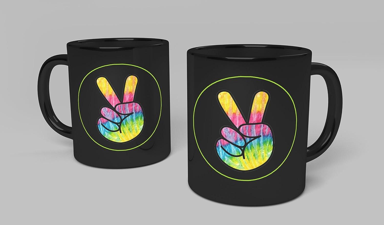 Amazon Com Peace Sign Mug Black Hippie Peace Symbol Love Coffee Cup Kitchen Dining