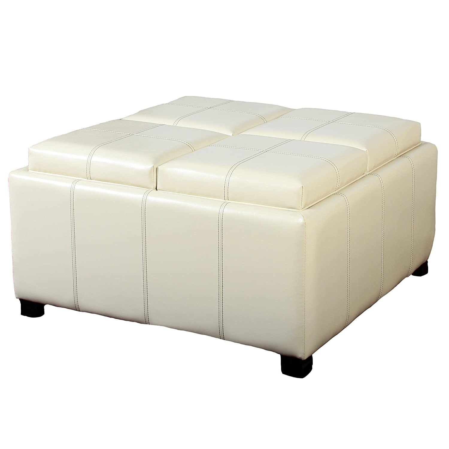 Amazon Best Selling Dartmouth Leather Tray Ottoman Ivory