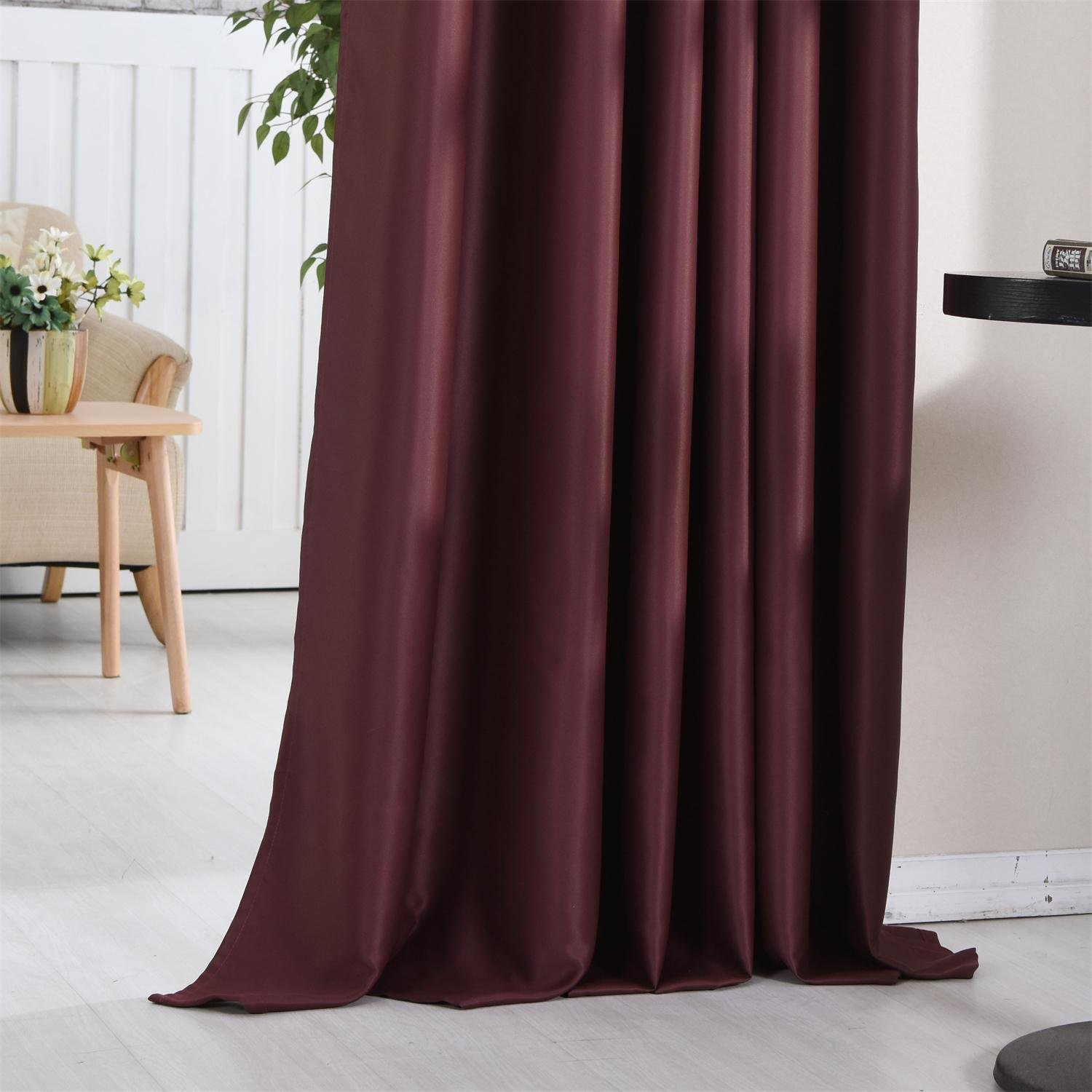 """46"""" x 54"""" Burgundy Red Blackout Curtains Ready Made Thermal"""