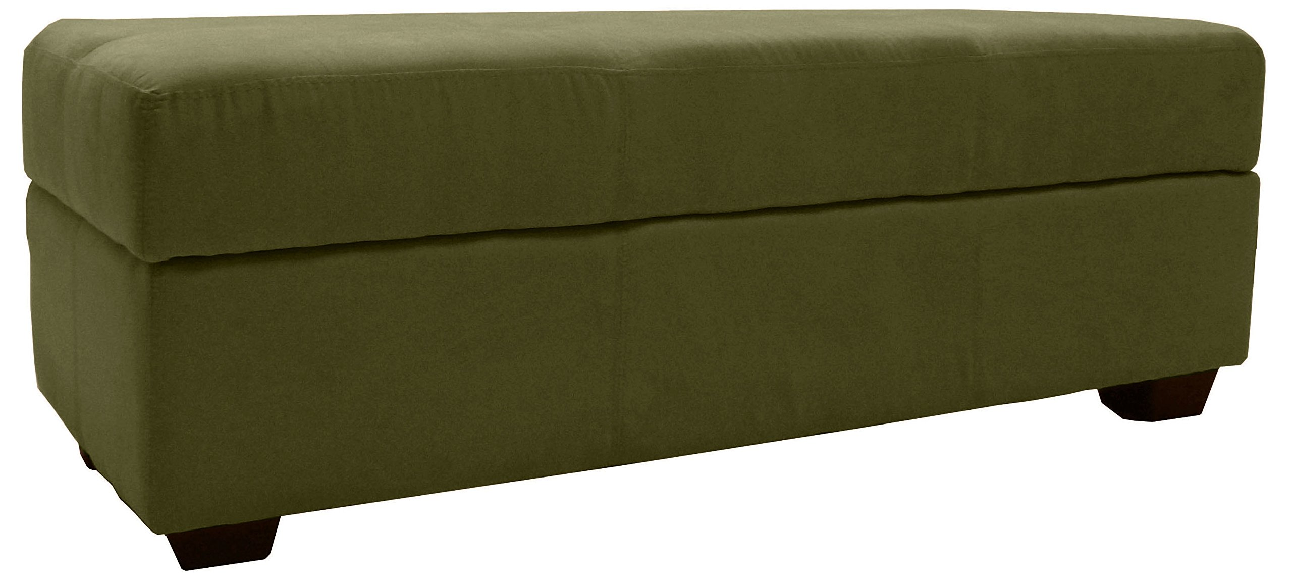 Epic Furnishings Microfiber Suede Upholstered Tufted Padded Hinged Storage Ottoman Bench, 48 by 19 by 18'', Olive Green