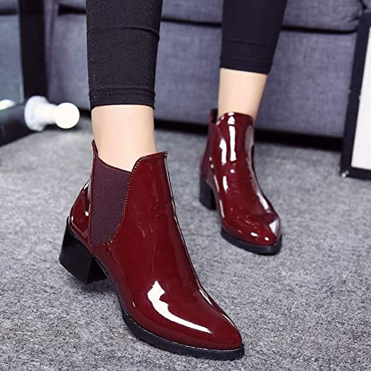 Amazon.com: CSSD Newest Women Fashion Elasticated Patent Leather Boots Pointed Low Heel Elastic Band Ankle Boots: Clothing