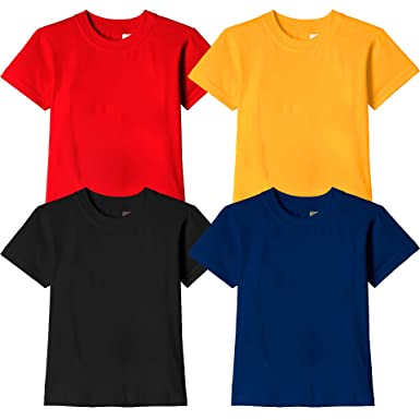 604325114 Kids Boys Wild Thunder T Shirt - Half Sleeve Round Neck Plain 100% Cotton  for Kids Boys Combo pack T Shirts - Red, Golden Yellow, Black and Navy Blue  Color ...