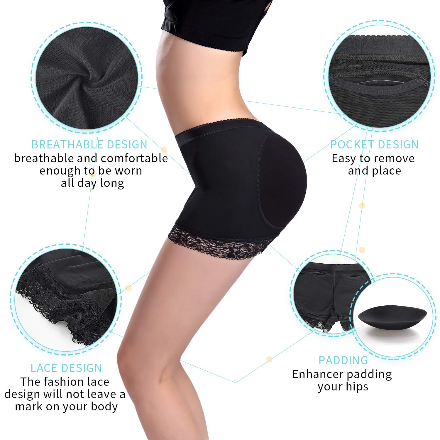 54d7e0cac18b ... SKYFOXE Womens Butt Lifter Shapewear Shorts-Enhancer Padded Control  Panties- Boyshort Fake Buttock Hip ...
