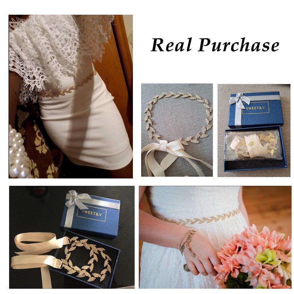 SWEETV Rhinestone Leaf Bridal Belt Wedding Belt Crystal Headband Bridesmaid Sash for Dress & Gown, Gold by SWEETV (Image #5)