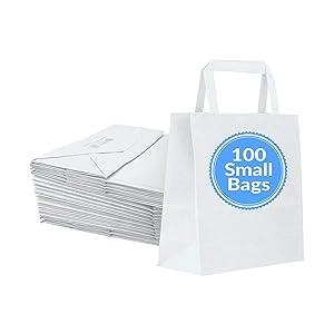Reli. White Paper Gift Bags   100 Pcs Bulk   Small - 7