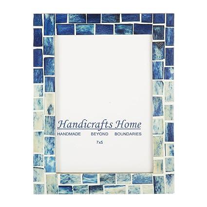 Amazon Com Indigo Mosaic Photo Frame Bone Handmade Picture Frames