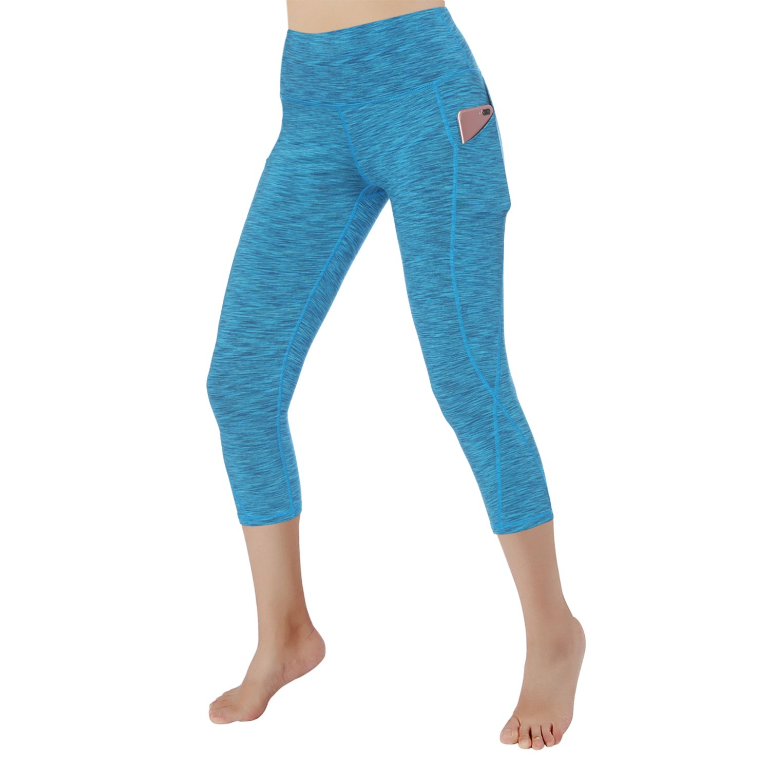 bluee Grey RURING Women's High Waist Yoga Pants Tummy Control 4 Way Stretch Running Pants Workout Leggings