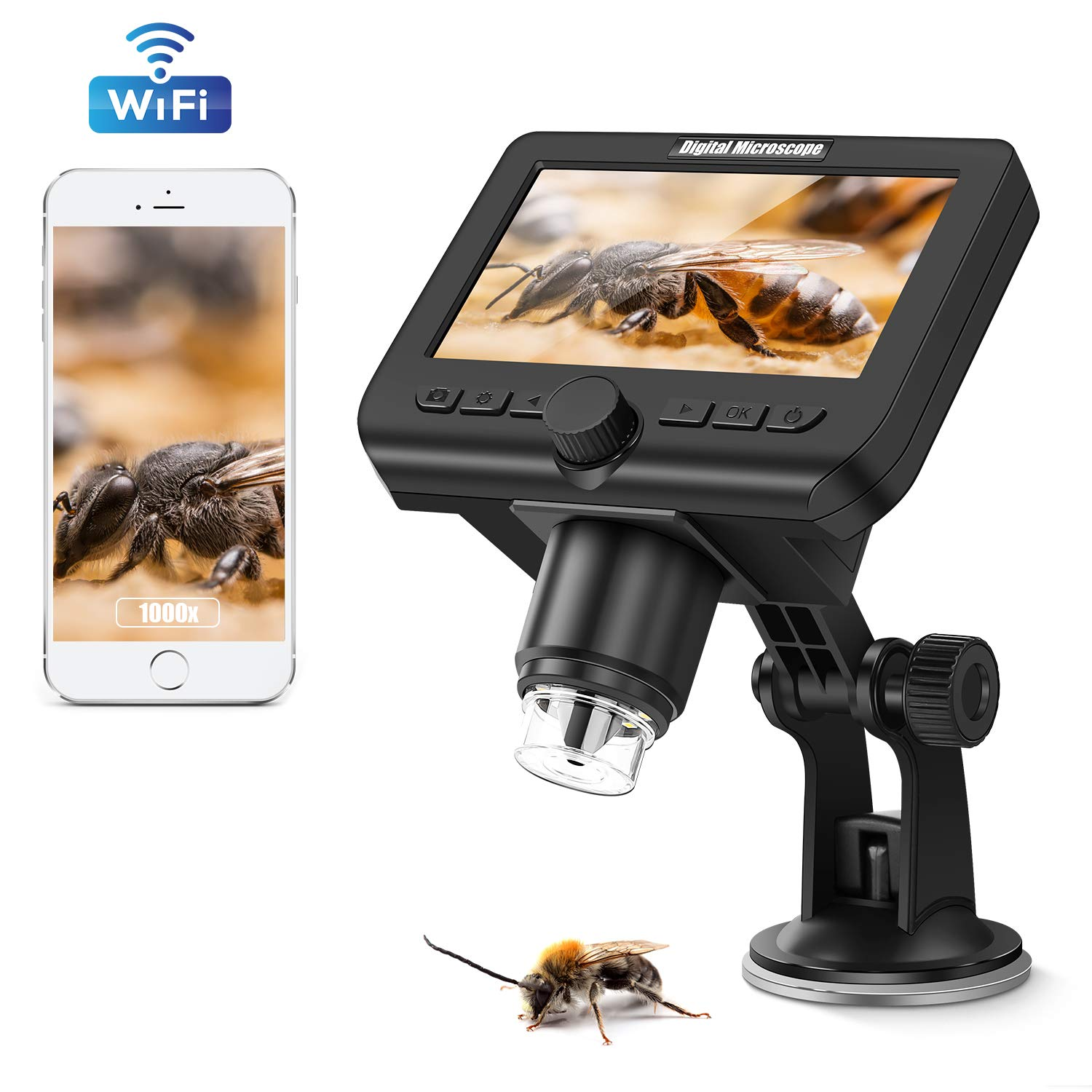 WiFi HD Microscope 1080P 4.3 inch LCD Screen, VSATEN Wireless Digital 50X-1000X Magnification Zoom USB Microscope Camera 2.0 Megapixels 8 Led Camera Video Recorder for iPhone Android Windows Mac Linux