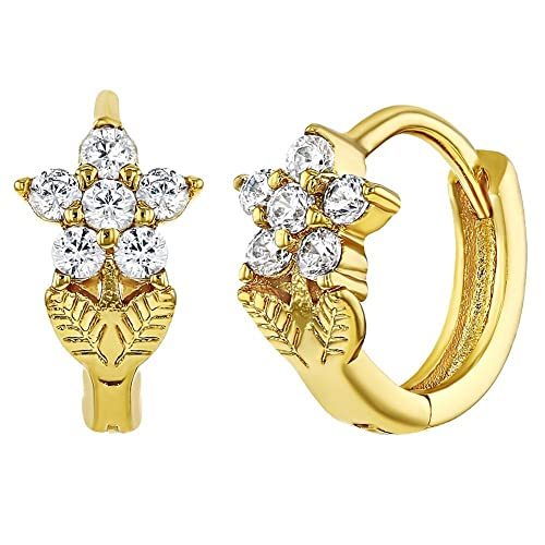 caea93beb Amazon.com: 18k Gold Plated Crystal Flower Hoop Earrings Girls Kids 0.31