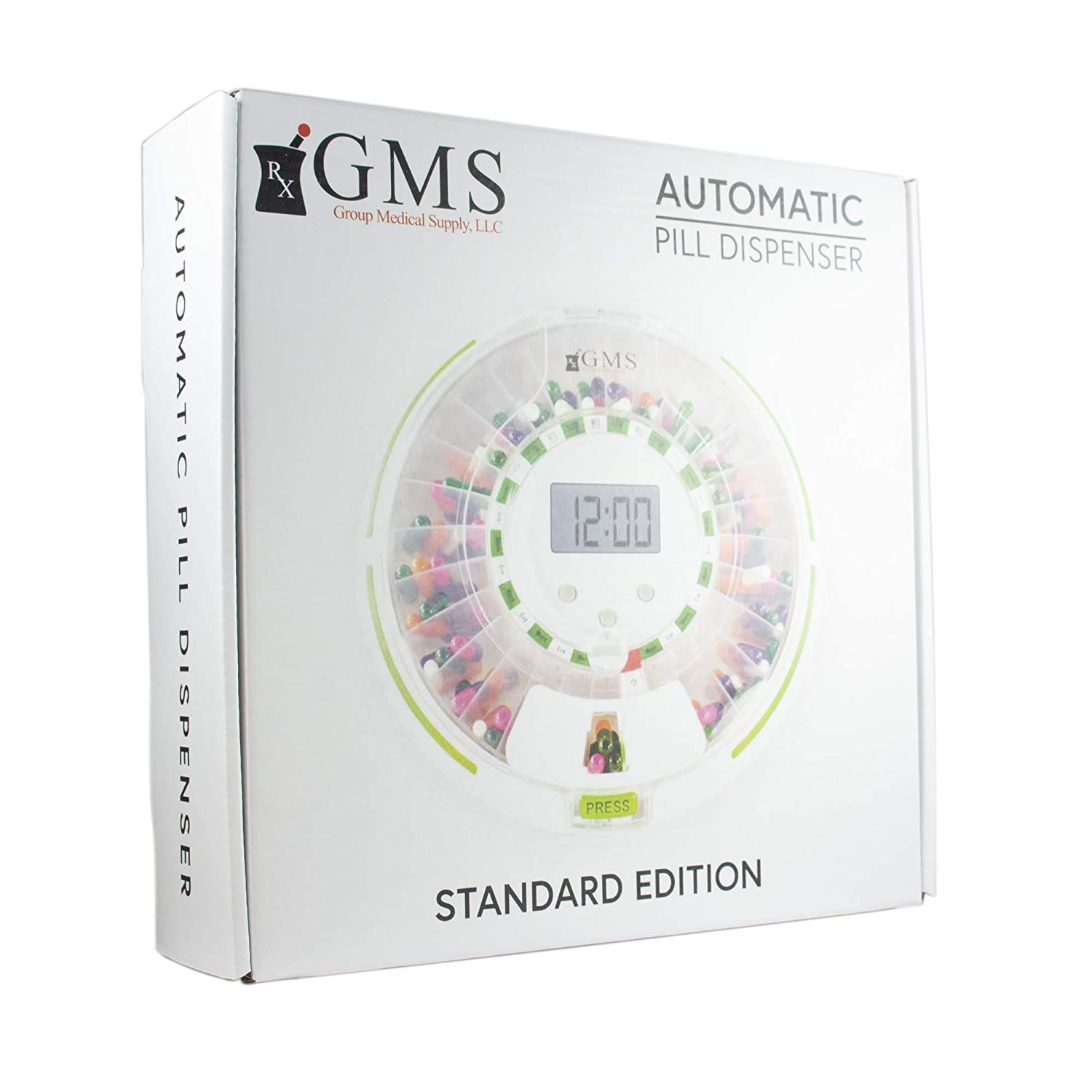 GMS Automatic Pill Dispenser 28 Day Automatic Pill Dispenser with Clear and Solid Lids (GMS Automatic Pill Dispenser, Tray, 6 Dosage Rings, Key) 1 ...