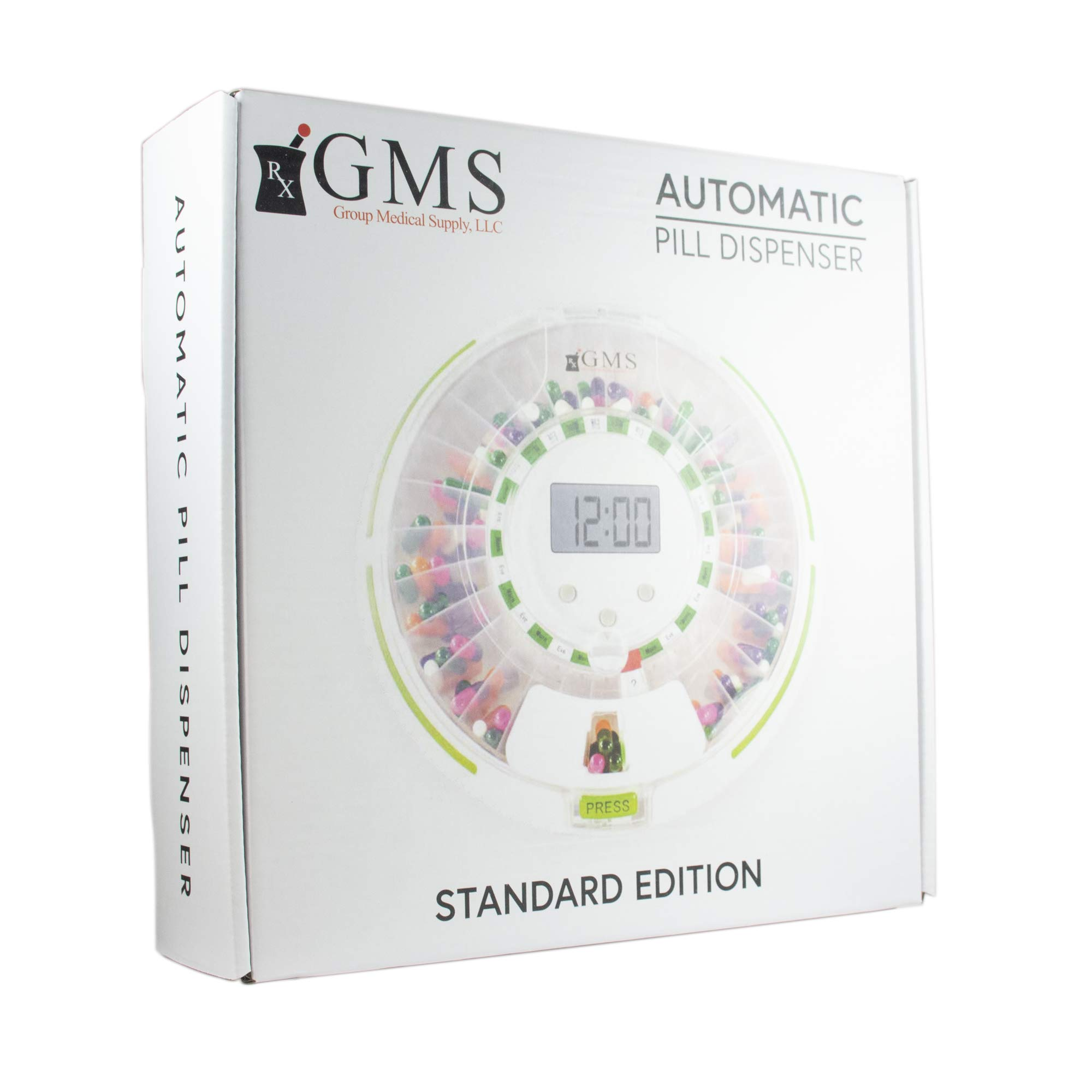 GMS Automatic Pill Dispenser 28 Day Automatic Pill Dispenser with Clear and Solid Lids (GMS Automatic Pill Dispenser, Tray, 6 Dosage Rings, Key) 1 Year Limited Warranty by GMS Group Medical Supply, LLC