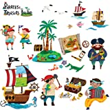 Decowall DW-1310 Pirates & Treasure Island Peel and Stick Nursery Kids Wall Decals Stickers