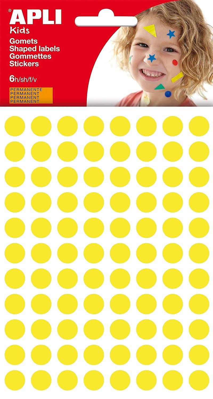 APLI - Bolsa de gomets redondos 10 mm, color amarillo, 6 hojas 13232