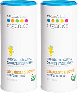 product image for Nature's Baby Organics Baby Powder Talc Free Dusting Powder With Aloe Soft Gentle 100% Organic Baby Powder Hypoallergenic Fragrance Free 4 oz each, 2 Pack