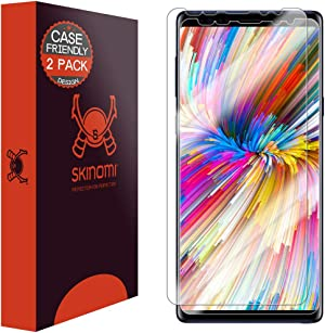 Skinomi TechSkin [2-Pack] (Case Compatible) Clear Screen Protector for Samsung Galaxy Note 9 Anti-Bubble HD TPU Film
