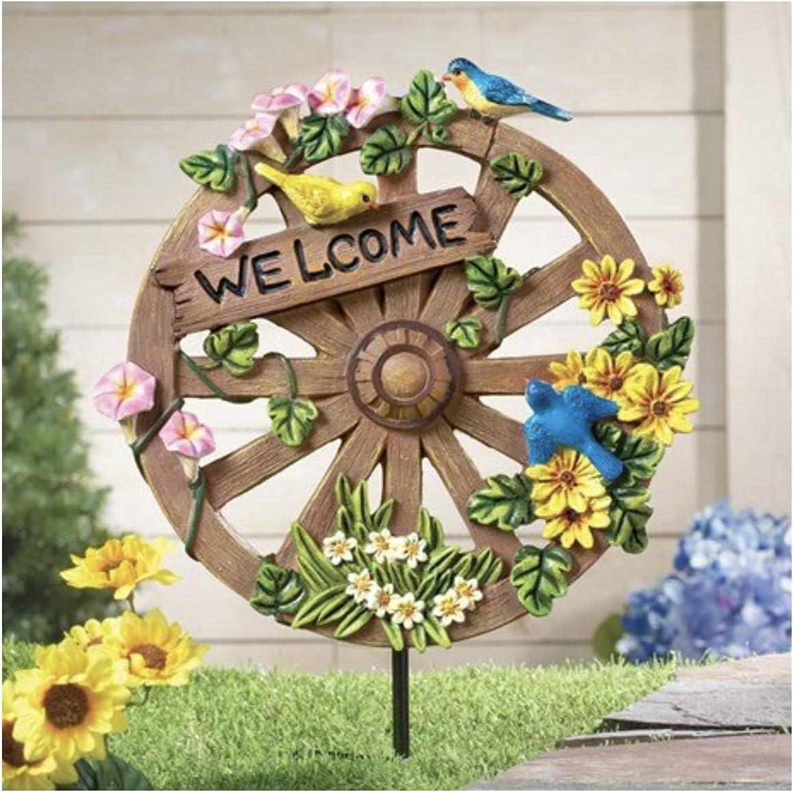 At Home Spring Floral Wagon Wheel Yard Decor