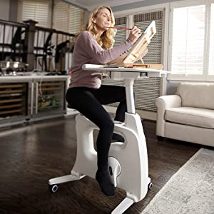 FLEXISPOT Desk Exercise Bike Home Office Standing Desk Cycle, Deskcise Pro - White