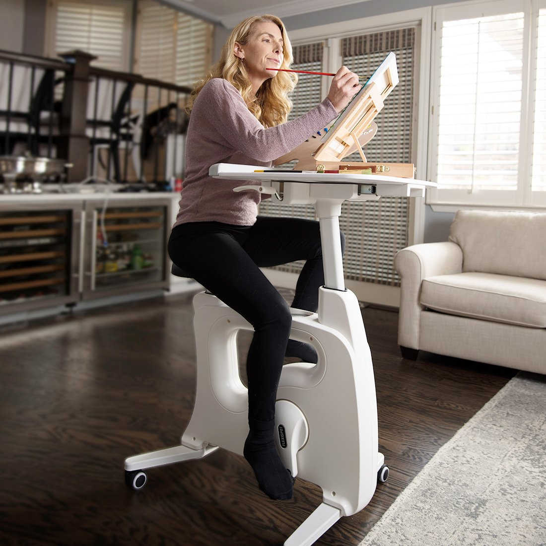FLEXISPOT Desk Exercise Bike Home Office Standing Desk Cycle, Deskcise Pro – White