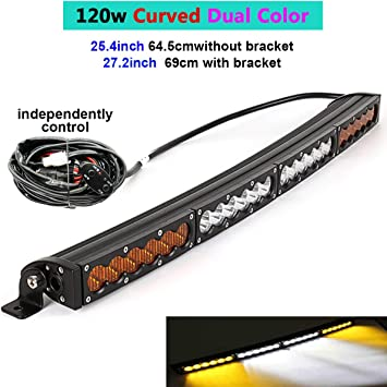Amazon Com Dual Color Curved Led Light Bar 25 4 27inch 120w Single Row Off Road Light Bar White Amber Yellow Spot Flood Combo Beam Led Work Diving Light Off Road Driving Fog Work Light