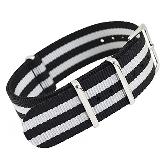 d61b2f3b39b Buy MetaStrap Fashion Replacement Nylon Watch Band with Steel Buckle 22mm  (white black) Online at Low Prices in India - Amazon.in