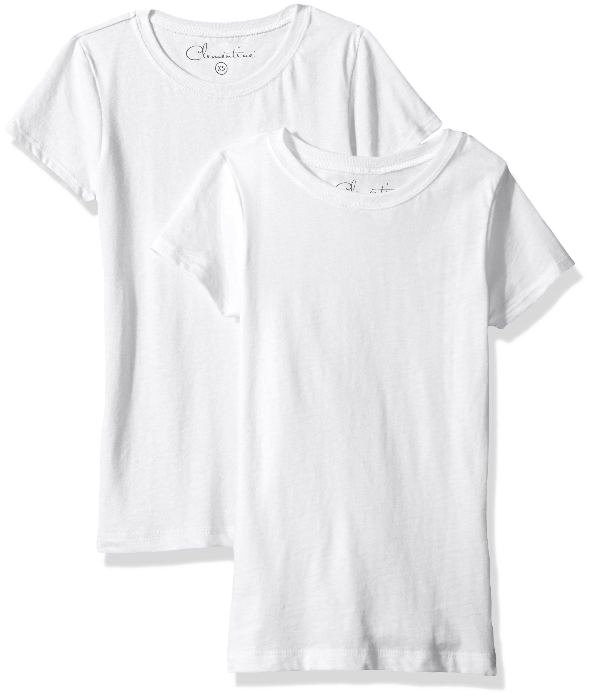 Clementine Big Girls' Everyday T-Shirts Crew 2-Pack, White/White, L