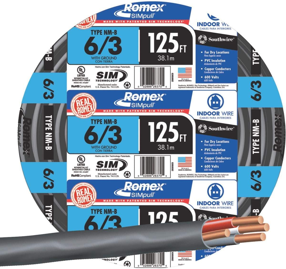Southwire #63950002 125 6//3 W//G NMB Cable