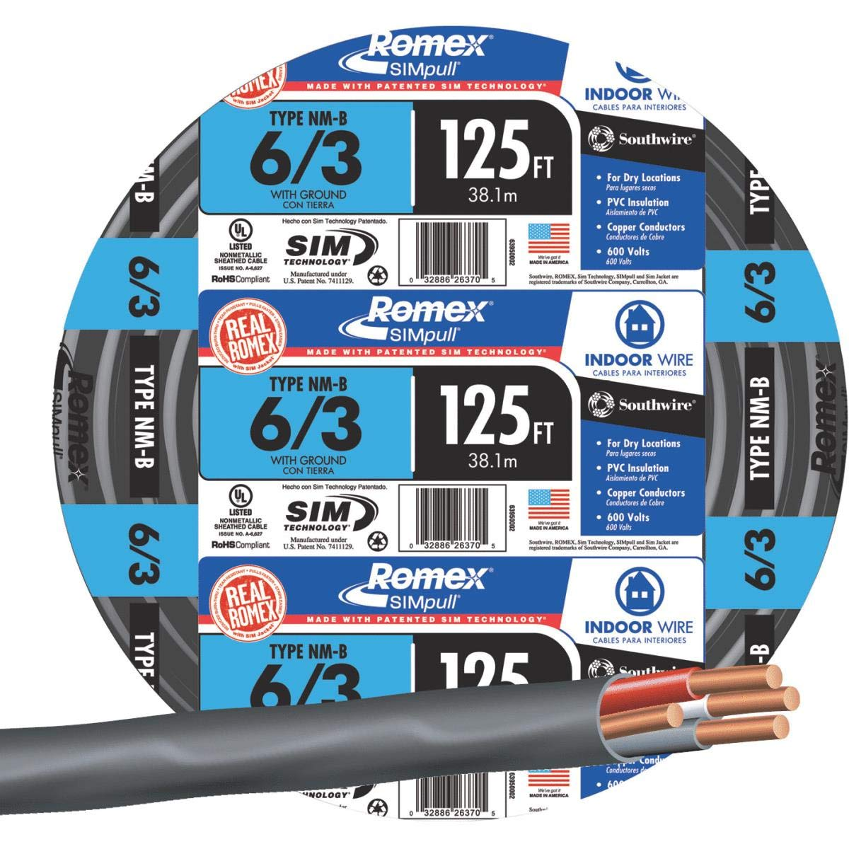 Southwire #63950002 125' 6/3 W/G NMB Cable